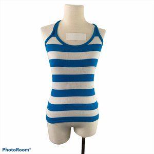 CLUB MONACO Blue & White Striped Tank Top